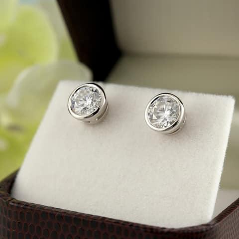 Lab Grown 2ctw Bezel-set Diamond Stud Earrings 14k Gold by Ethical Sparkle