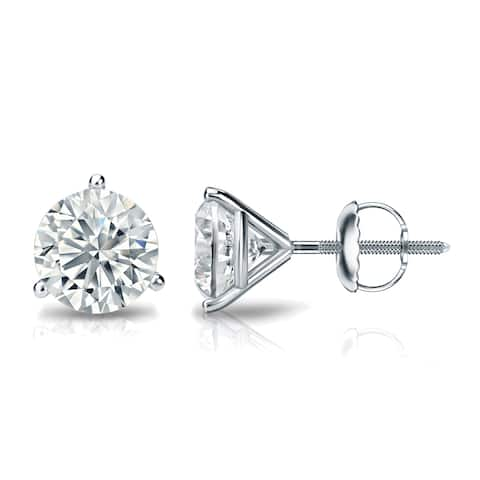 Round 1 1/2ctw Diamond Stud Earrings Lab Grown Martini-set 14k Gold by Ethical Sparkle