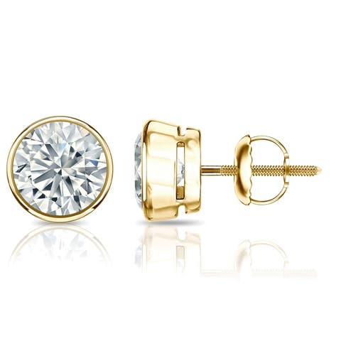 14k Gold 2ctw Bezel-set Lab Grown Diamond Stud Earrings by Ethical Sparkle