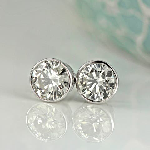 Ethical Sparkle 2ctw Round Bezel Set Lab Grown Diamond Stud Earrings 14k Gold