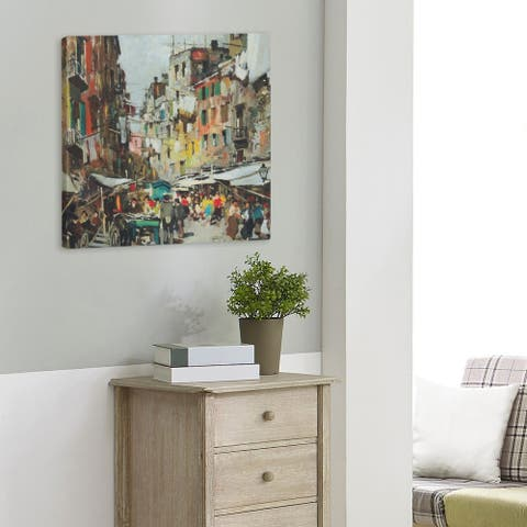 Felice Giordano Market in Naples Gallery-Wrapped Canvas