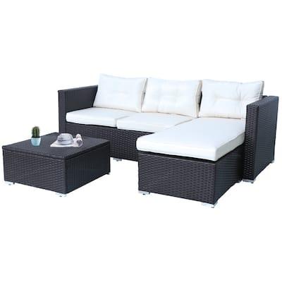 Rankin 3-piece Wicker Patio Sofa Set with Adjustable Tea Table by Havenside Home
