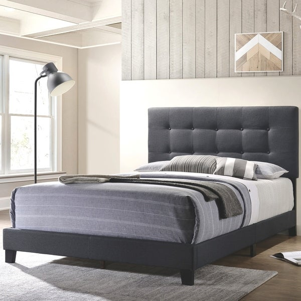 Button Tufted Design Charcoal Grey Fabric Upholstered Bed. Opens flyout.