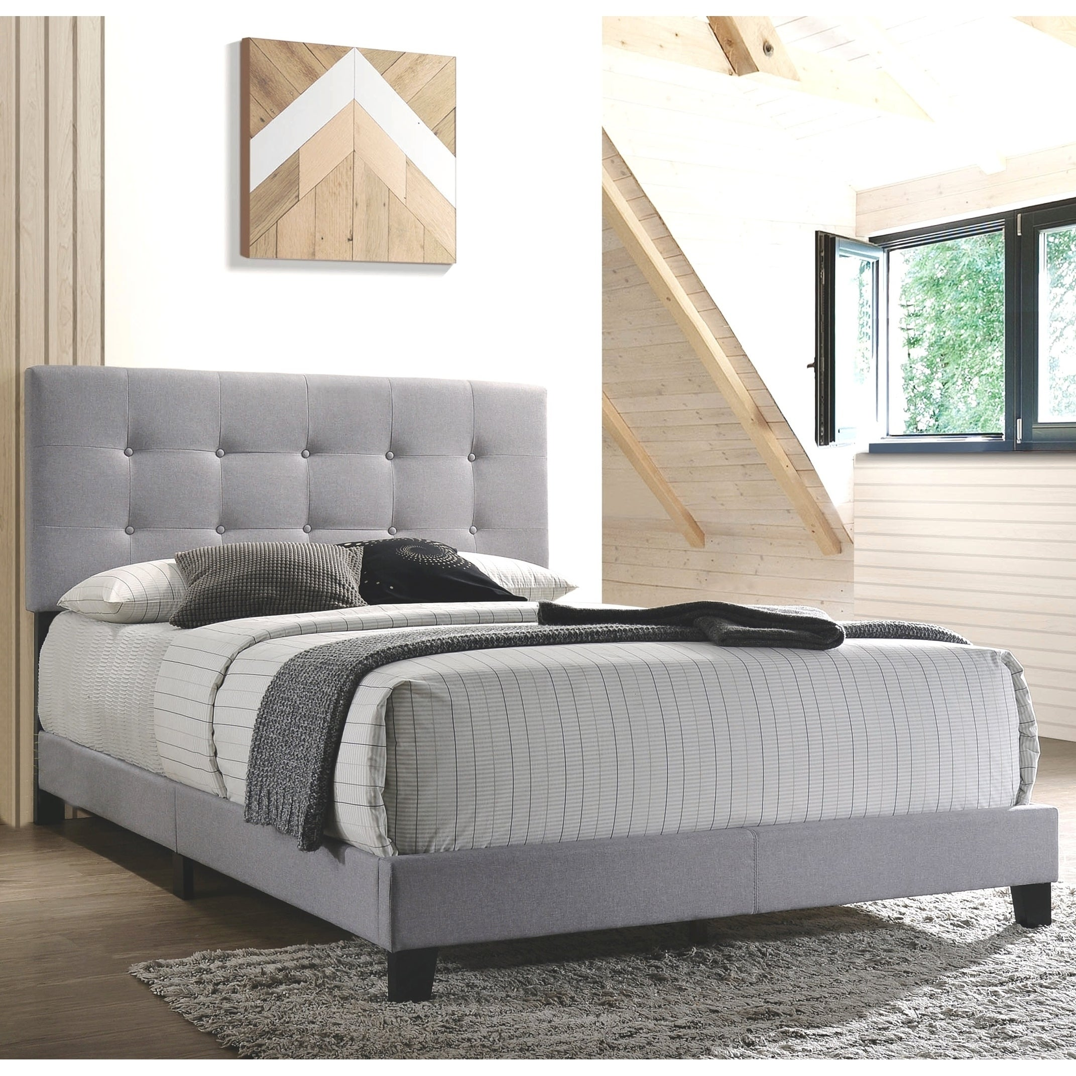 Button Tufted Design Light Grey Fabric Upholstered Bed Overstock 28266727