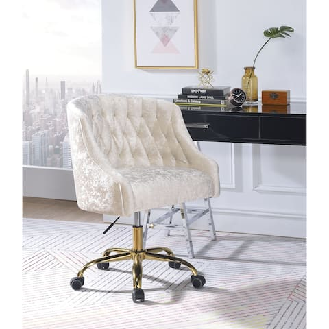 Swivel Velvet Upholstered Office Chair with Adjustable Height and Metal Base, Cream and Gold