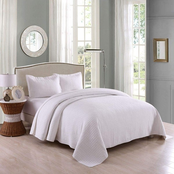 3 Pcs White Cotton Quilt Set Lightweight Bedspread Set Check