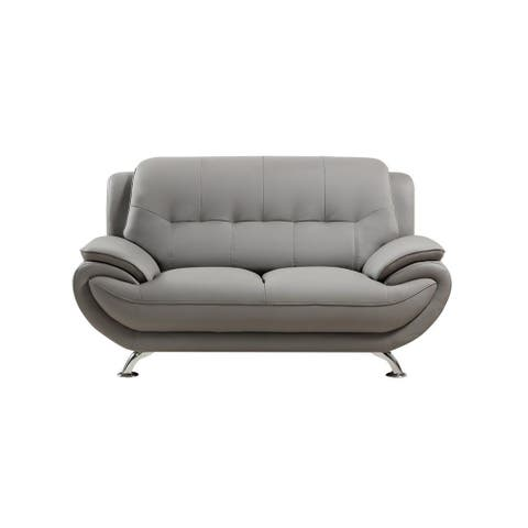 Leatherette Upholstered Wooden Loveseat with Bustle Back and Stainless Steel Legs, Gray
