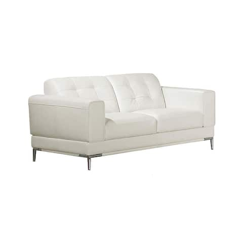 Faux Leather Upholstered Wooden Loveseat with Square Quilt Tuft Pattern on Backrest, White