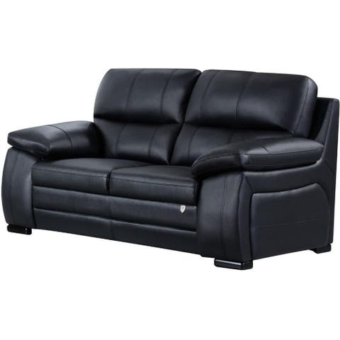 Leatherette Upholstered Wooden Loveseat with Split Cushioned Back and Pillow Top Armrest, Black
