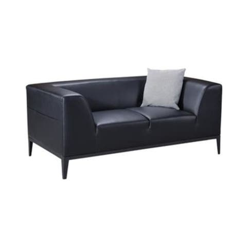 Wooden Framed Loveseat with Faux Leather Upholstery and Elevated Armrest, Black
