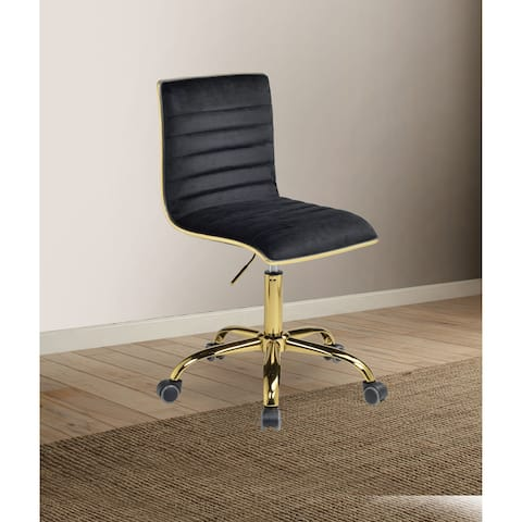 Velvet Upholstered Armless Office Chair with Adjustable Height and Tufting Details, Black and Gold
