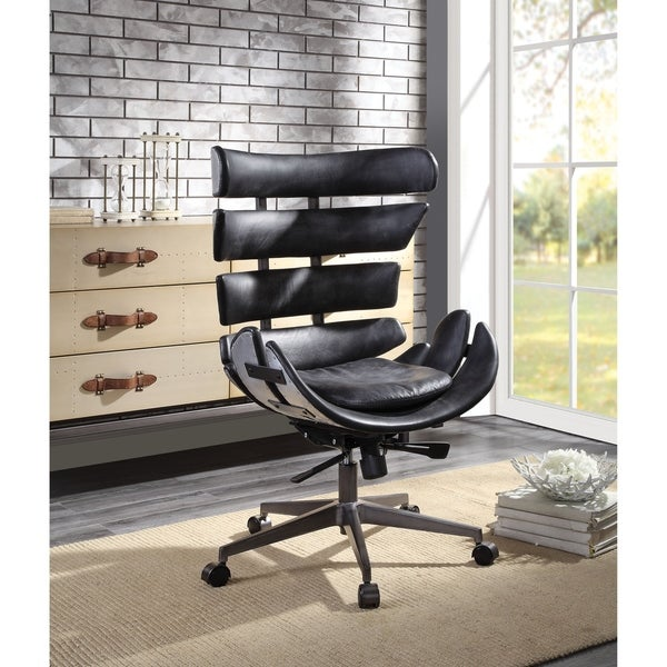 Metal Framed Wingback Office Chair with Leatherette Upholstered Horizontal Panels, Black and Gray