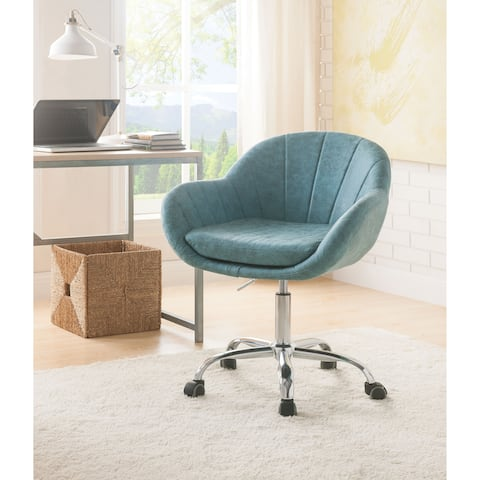 Tufted Leatherette Swivel Office Chair with Adjustable Height, Blue and Silver