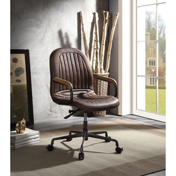 Height Adjustable Metal Office Chair with Tufted Leathrette Upholstery and Castors, Brown and Gray