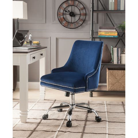 Velvet Upholstered Swivel Office Chair with Adjustable Height and Metal Base, Blue and Silver