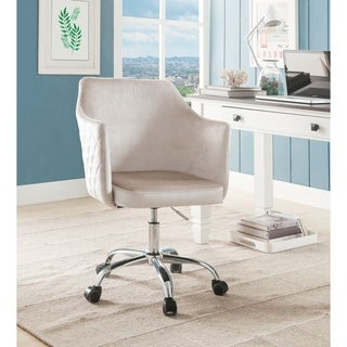 Velvet Upholstered Adjustable Office Chair with Metal Base, Beige