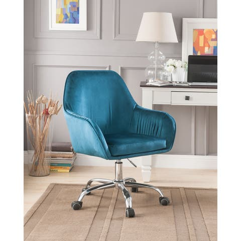 Adjustable Velvet Upholstered Swivel Office Chair with Slopped Armrests, Blue and Silver