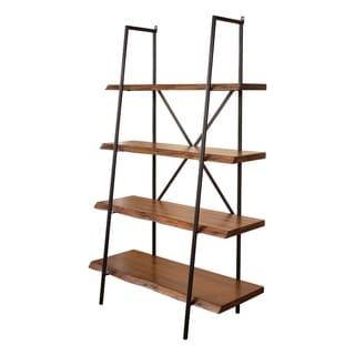Alpine Furniture Live Edge Bookshelf, Light Walnut