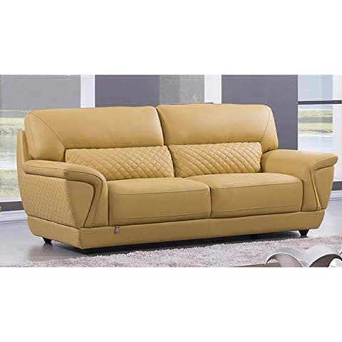 Leather Upholstered Wooden Loveseat with Attached Lumbar Cushion, Yellow