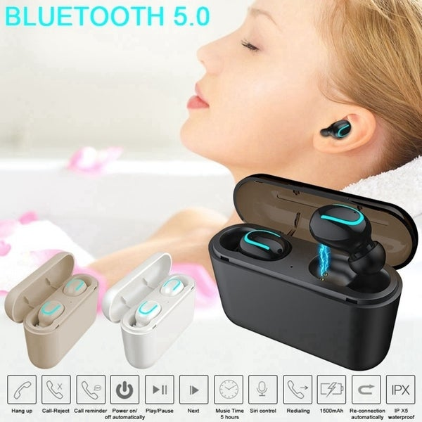True Wireless Bluetooth 5.0 Earbuds Waterproof TWS Headset Headphone with Charging Case Sound Quality Auto-pairing Earbuds. Opens flyout.