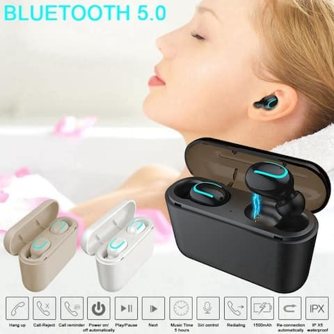True Wireless 5.0 Earbuds Waterproof TWS Headset Headphone with Charging Case Sound Quality Auto-pairing Earbuds