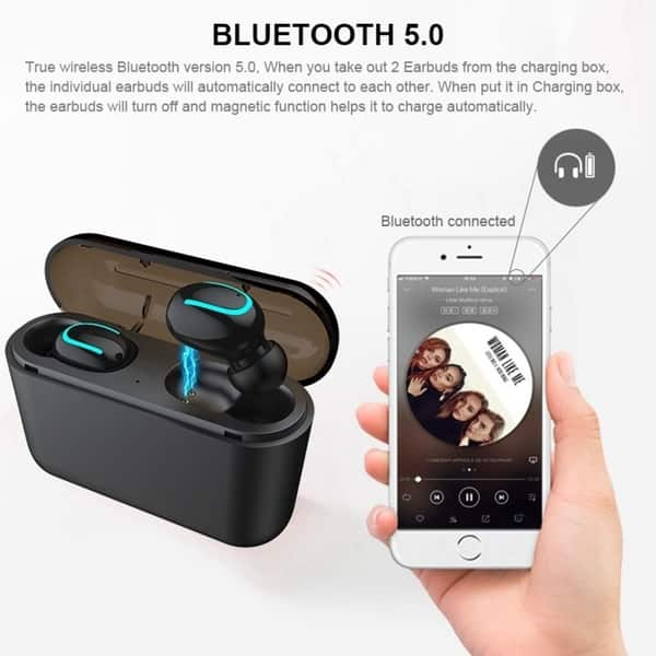 Shop True Wireless Bluetooth 5 0 Earbuds Waterproof Tws Headset Headphone With Charging Case Sound Quality Auto Pairing Earbuds Overstock 28268308