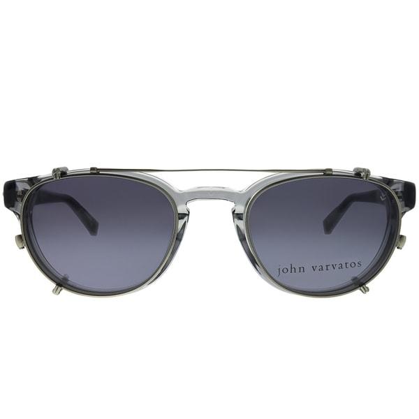 John Varvatos Essex JV V353UF Crystal Plastic Sunglasses Grey Clip on Lens