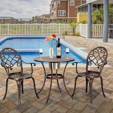 European Style Cast Aluminum Bronze Outdoor 3 Piece Patio Bistro Set With Ice Bucket