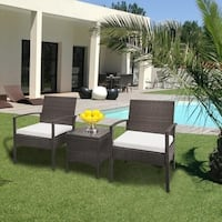 Patio Porch Furniture Bistro Set  PE Rattan Wicker Chairs with Cushions