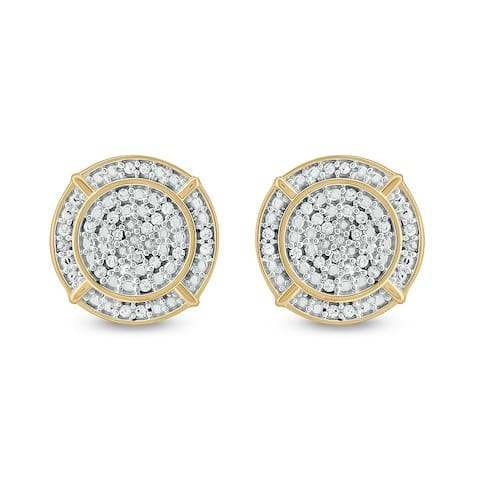 Cali Trove, 1/4 Cttw Diamond Men'S Earring in Sterling Silver Plated in Yellow - White