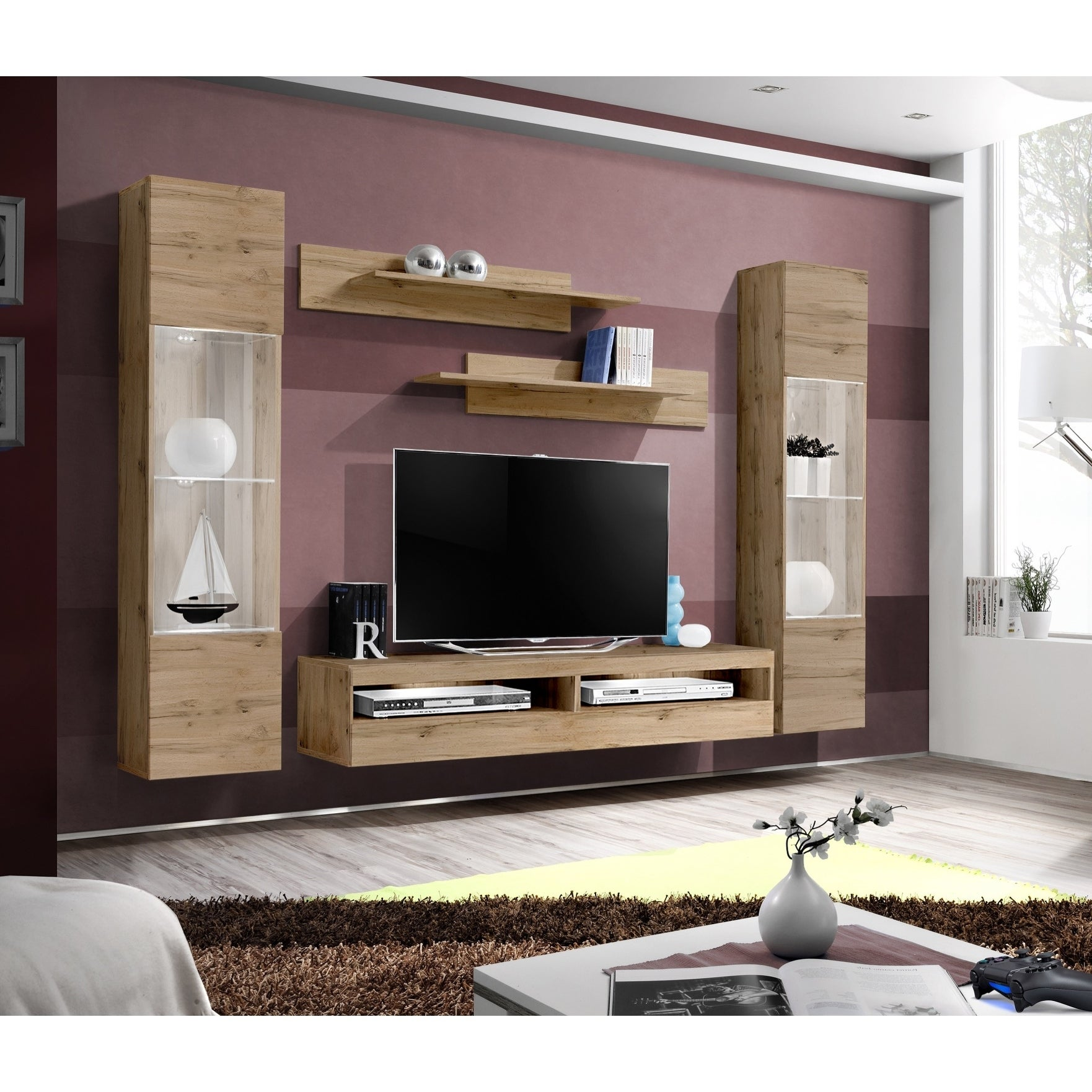 Meble Furniture /& Rugs Fly I2 33TV Wall Mounted Floating Modern Entertainment Center