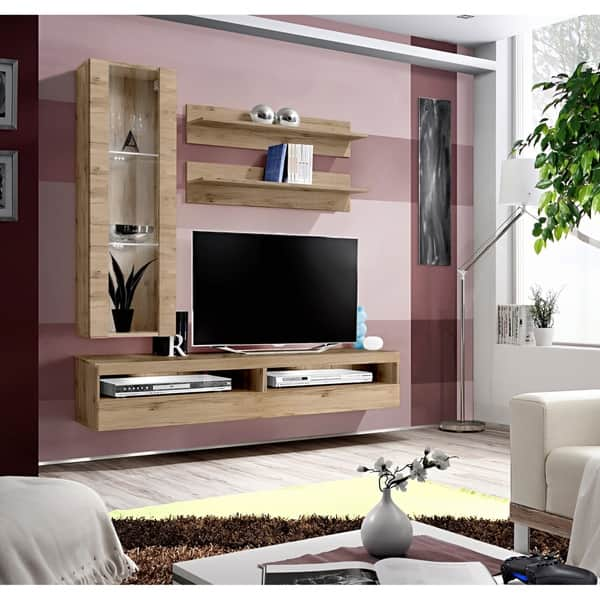 Fly H2 35tv Wall Mounted Floating Modern Entertainment Center Overstock 28271378