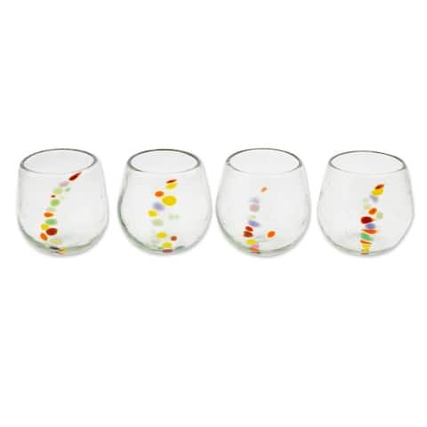 Handmade Recycled glass stemless wine glasses (set of 4)(Guatemala)
