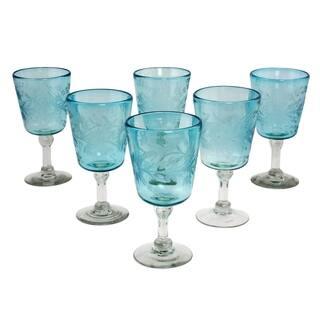 Handmade Sunflowers Blown glass wine glasses (set of 6)(Mexico)