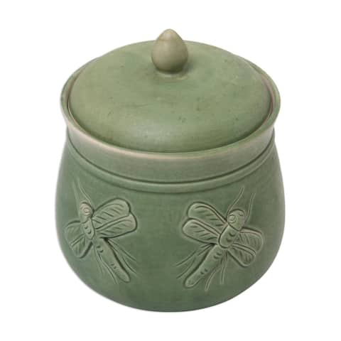 Handmade Dragonfly Ceramic Jar (Indonesia)