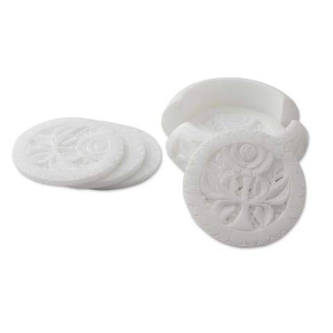 Handmade White Agra Lily Marble coasters (set of 6)(India)