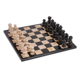 """handmade 13"""" Brown Challenge Marble Chess Set (Mexico)"""
