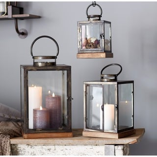 "Lanterns (Set of 3) 12""H, 16.5""H, 21.5""H - Small 6.375L x 6.375W x 12H 2.37lbs/Medium 8.375L x 8.375W x 16.5H 4.15lbs"