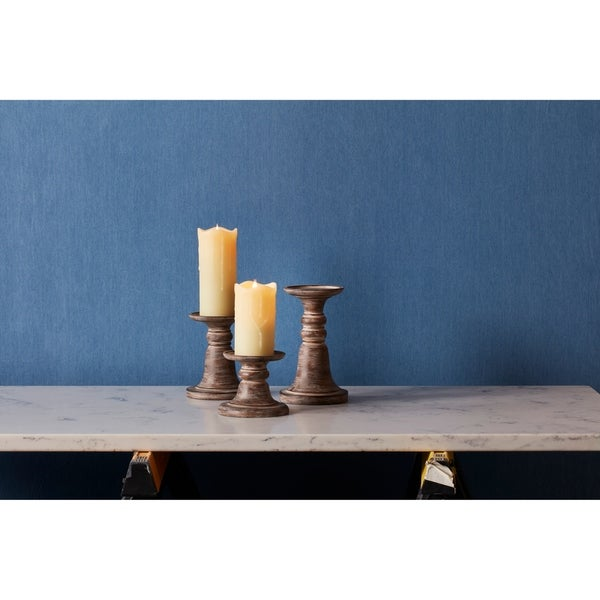 Candle Holder (Set of 3) - Medium 5.5L x 5.5W x 7H 1.2lbs/Small 5.5L x 5.5W x 5H 1lbs