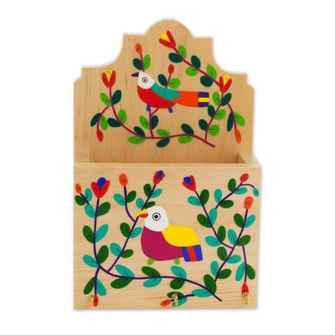 Handmade Cheery Birds Wood key and letter holder (El Salvador)