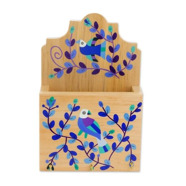 Handmade Cheery Birds in Blue Wood key and letter holder (El Salvador)