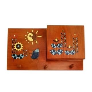 Handmade Jubilant Day Wood letter and key holder (El Salvador)