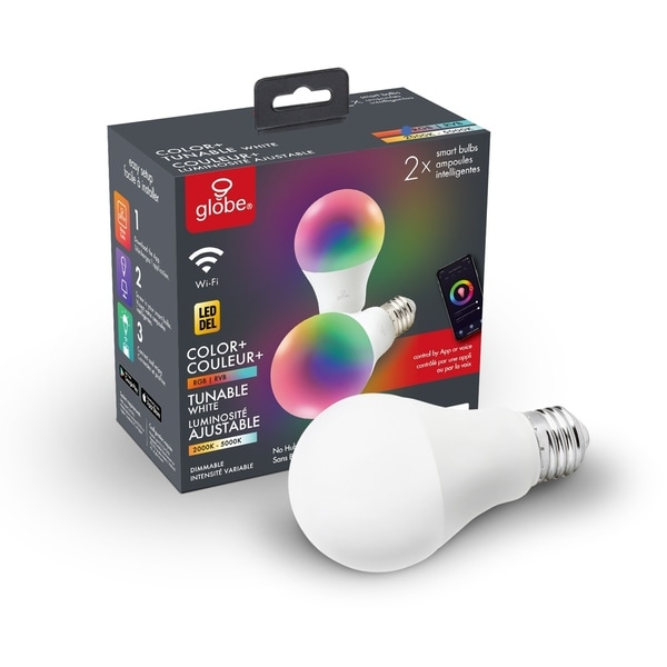 Wi-Fi Smart RGB Tunable Frosted LED Light Bulb, No Hub Required,2-Pk - A19. Opens flyout.