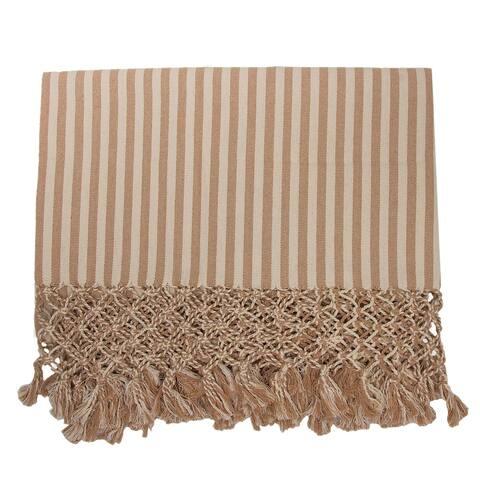 Handmade Friendly Stripes Cotton throw (Brazil)