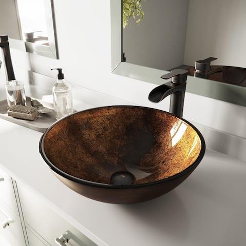 VIGO Russet Glass Vessel Bathroom Sink (As Is Item)