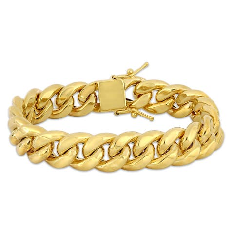 Miadora 10k Yellow Gold 9-Inch Men's Cuban Link Bracelet