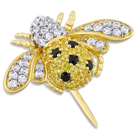 Laura Ashley Created Yellow White Sapphire with Spinel Honeybee Brooch in Yellow Plated Sterling Silver