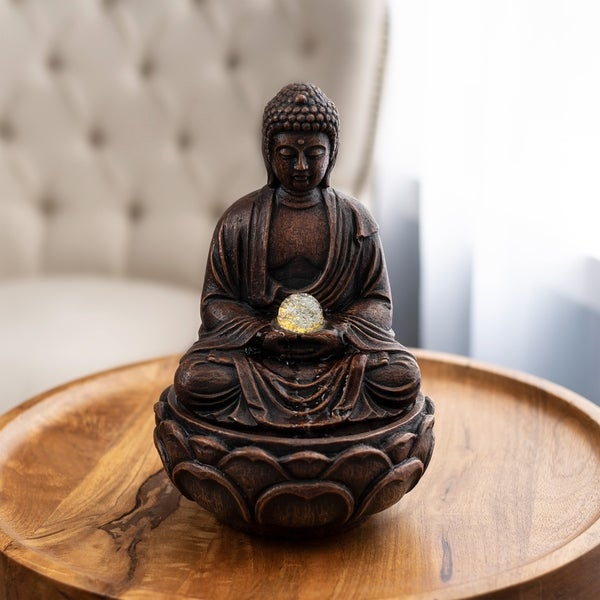 Sitting buddha Ployresin table fountain with by Pure Garden