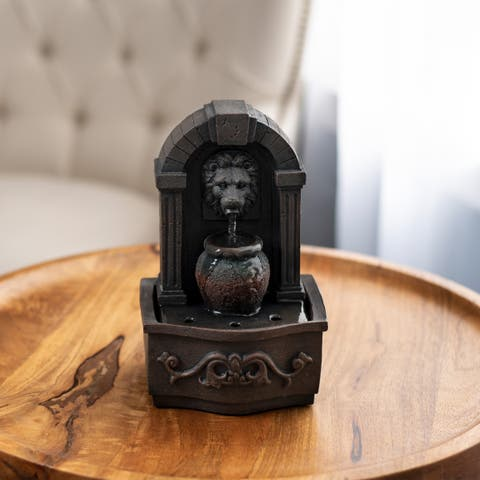 Tabletop Water Fountain- Classic Lion Head by Pure Garden