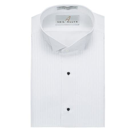 Neil Allyn Men's Slim Fit Tuxedo Shirt Wing Collar 1/4 Inch Pleat